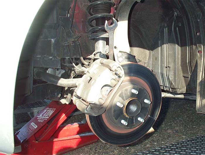 Close-up of factory brakes on 350Z Performance Model